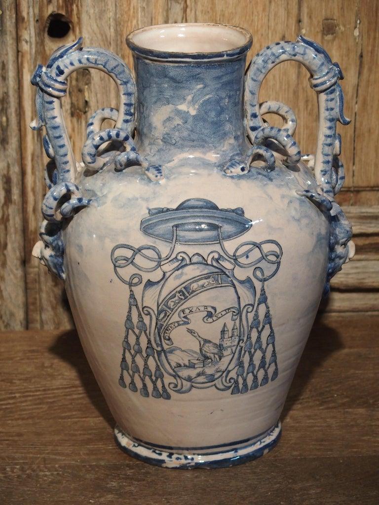 Pair of Antique Italian Blue and White Vases, Naples, circa 1890 For Sale 9