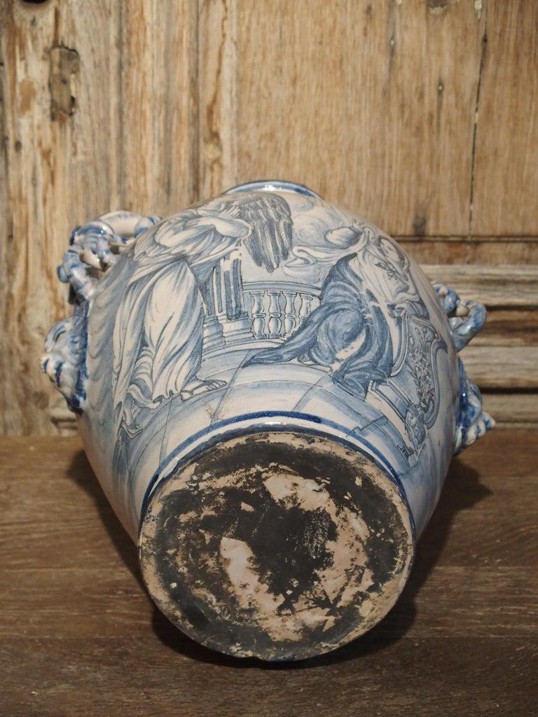 Pair of Antique Italian Blue and White Vases, Naples, circa 1890 For Sale 13