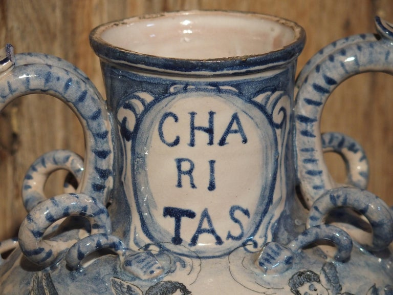 Pair of Antique Italian Blue and White Vases, Naples, circa 1890 For Sale 14