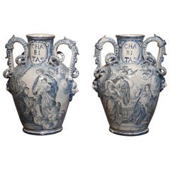 Pair of Antique Italian Blue and White Vases, Naples, circa 1890