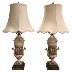 Pair of Antique Italian Capo Di Monte Porcelain Urn Lamps, circa 1890