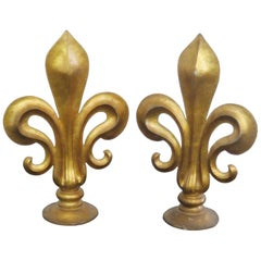 Pair of Large Antique Italian Gilt Fleur De Lis Sculptures Finials Architectural
