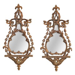 Pair of Antique Italian Giltwood Mirrors