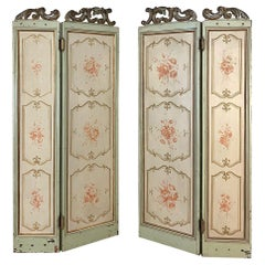 Pair of Antique Italian Hand Painted Dressing Screen Panels
