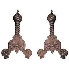 Pair of Antique Italian Iron Andirons