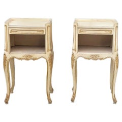 Pair of Antique Italian Louis XV Hand Painted Nightstands