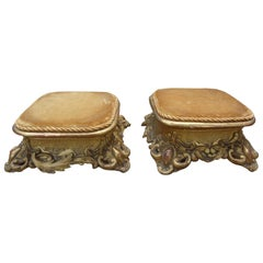 Pair of Antique Italian Louis XV Style Giltwood Stands