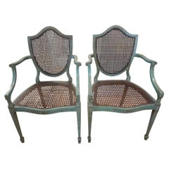 Pair of Antique Italian Louis XVI Style Painted Shield Back Chairs