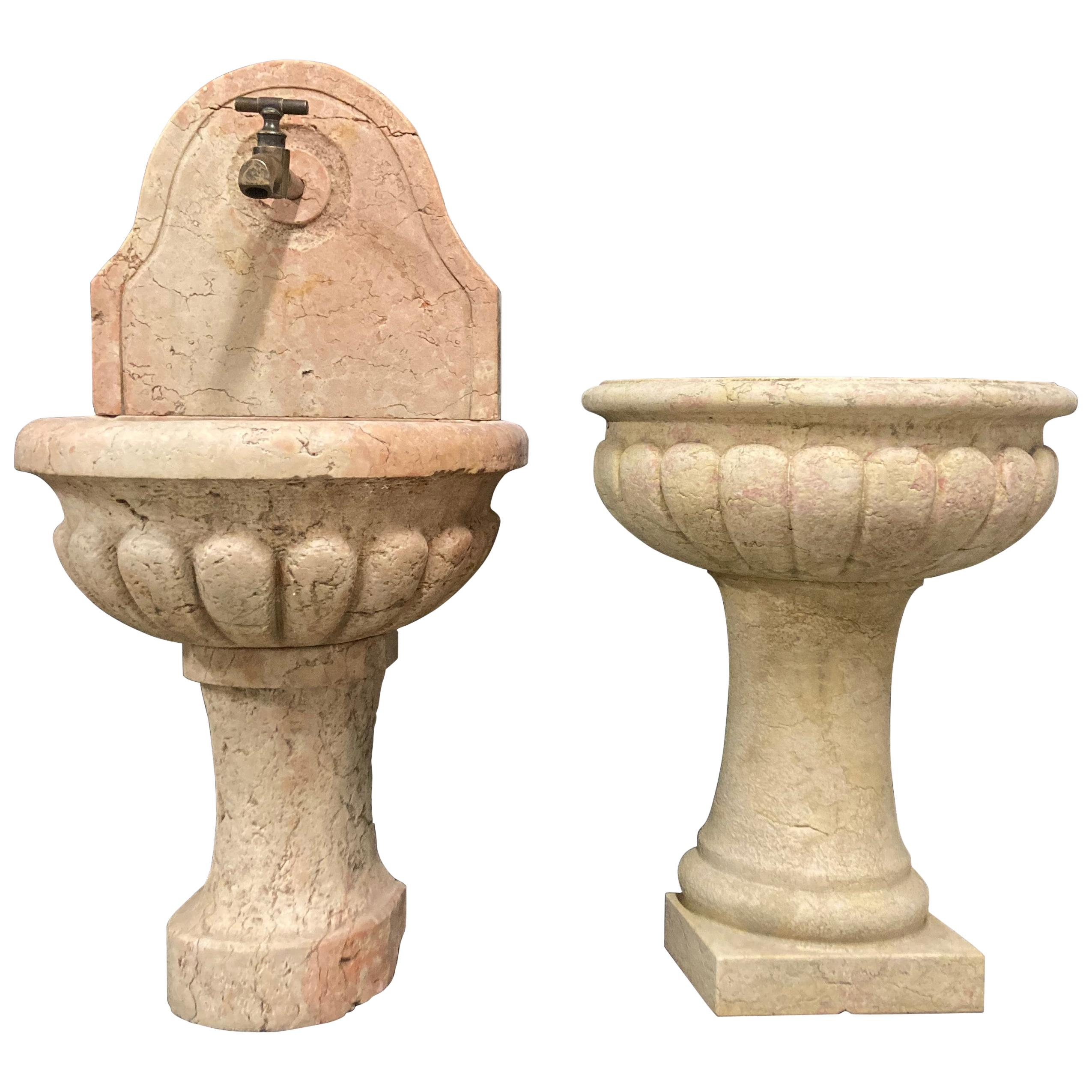 Pair of Antique Italian Marble Fountains