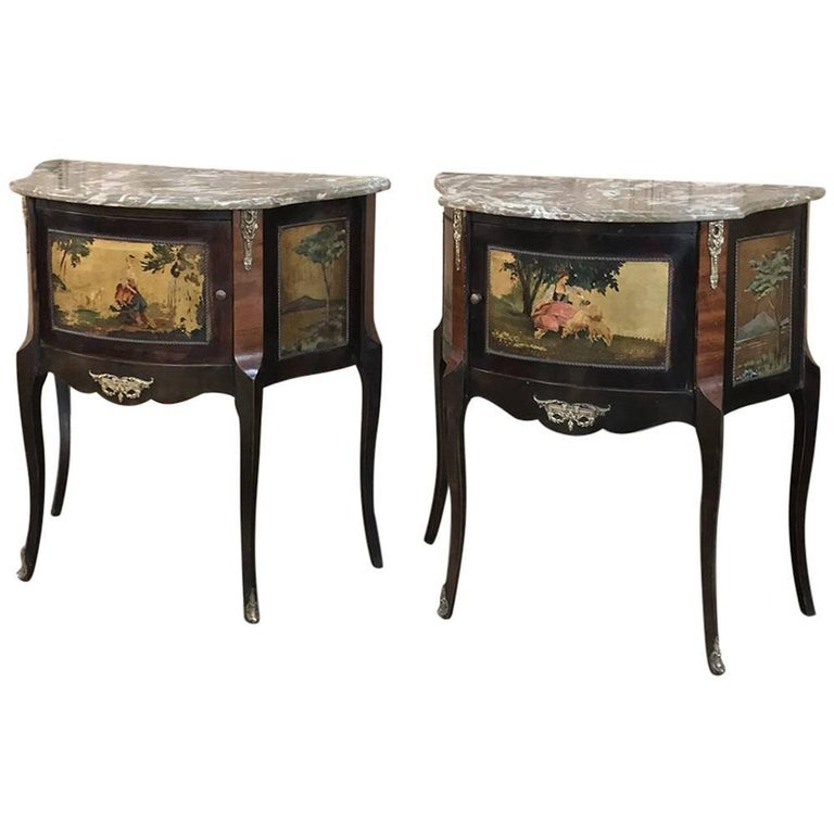 Pair Of Antique Italian Marble Top Painted Cabinets Nightstands For