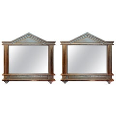 Pair of Antique Italian Neoclassical Style Painted and Giltwood Mirrors