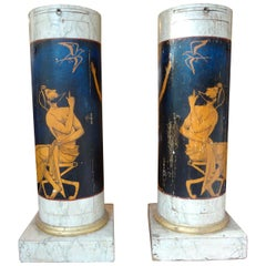 Pair of Antique Italian Neoclassical Style Painted Column Pedestal Cabinets