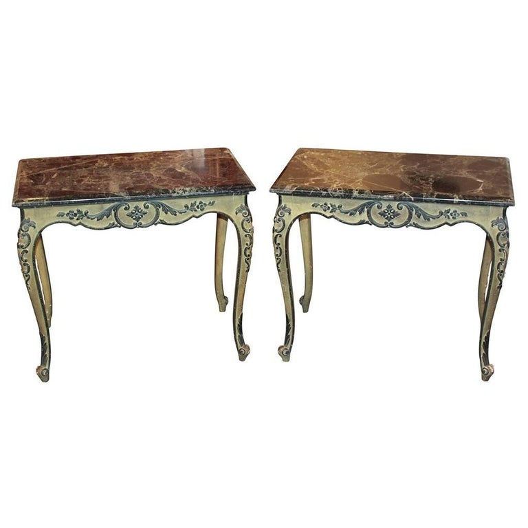 Pair of Antique Italian Painted Side Tables For Sale