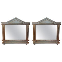 Pair of Antique Italian Palladian Style Painted and Giltwood Mirrors