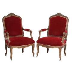 Pair of Antique Italian Parlor Armchairs in Louis XV Style Walnut Carved Frames