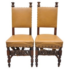 Pair of Antique Italian Renaissance Carved Walnut High Back Side Chairs