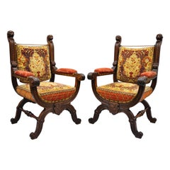 Pair of Antique Italian Renaissance Savonarola Throne Armchairs with Lion Heads