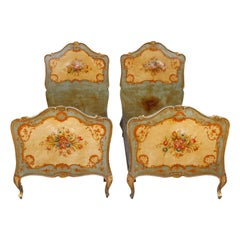 Pair of Antique Italian Rococo Hand Painted and Gilt Twin Bed, circa 1930