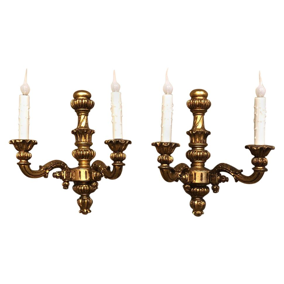 Pair of Antique Italian Tuscan Giltwood Wall Sconces