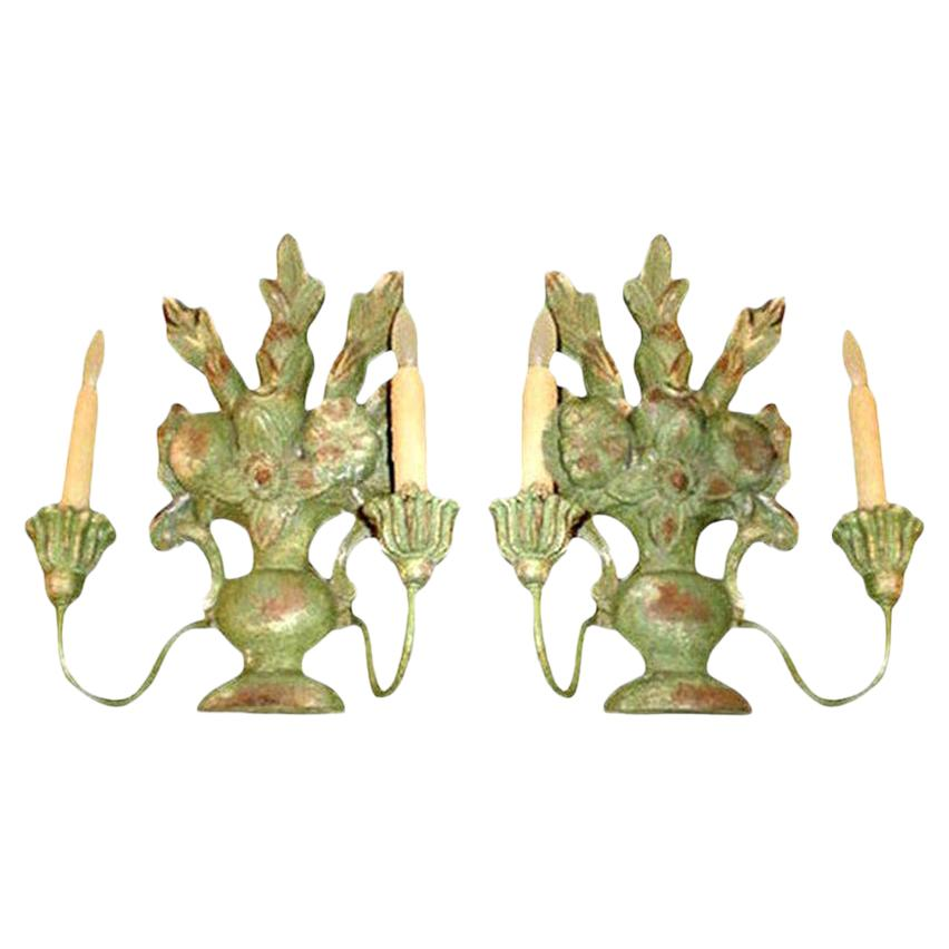 Pair of Antique Italian Two-Light Carved Wood Sconces