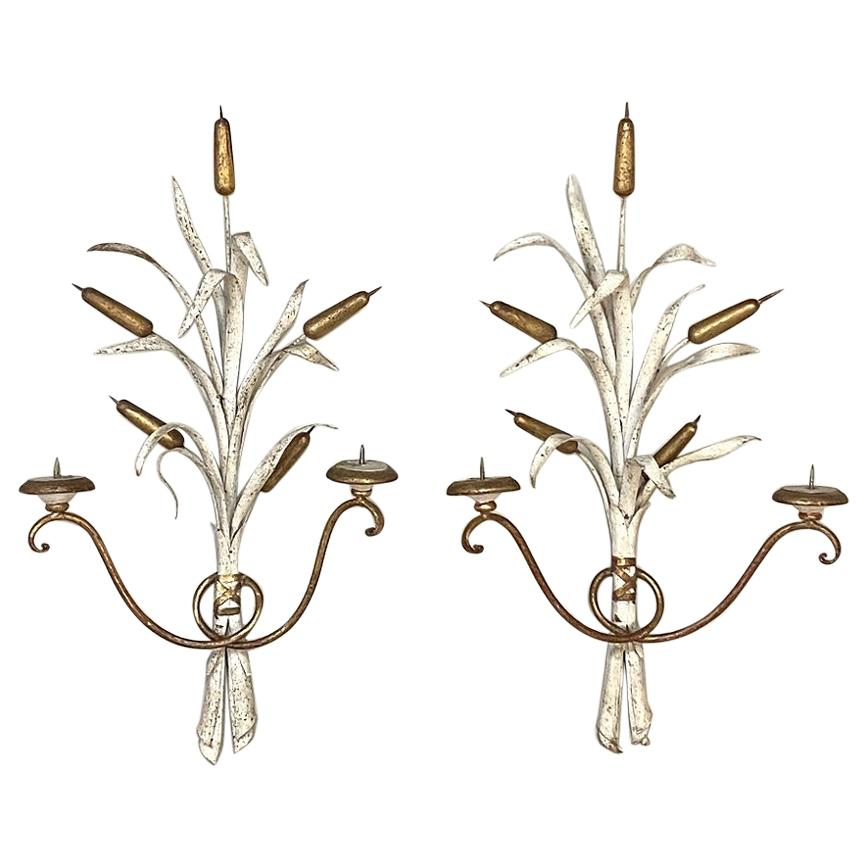 Pair of Antique Italian Wrought Iron Painted Candle Wall Sconces