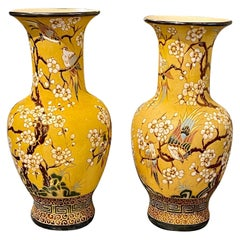 Pair of Antique Italian Yellow Glazed Vases