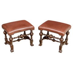 Pair of Antique Jacobean Style Stools with Leather Tops