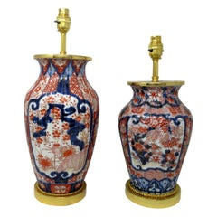 Pair of Antique Japanese Chinese Imari Porcelain Ormolu Table Lamp Blue Red Gilt