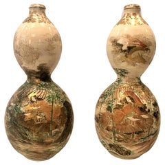 Pair of Antique Japanese Double Gourd-Shaped Satsuma Porcelain Bottle Urns