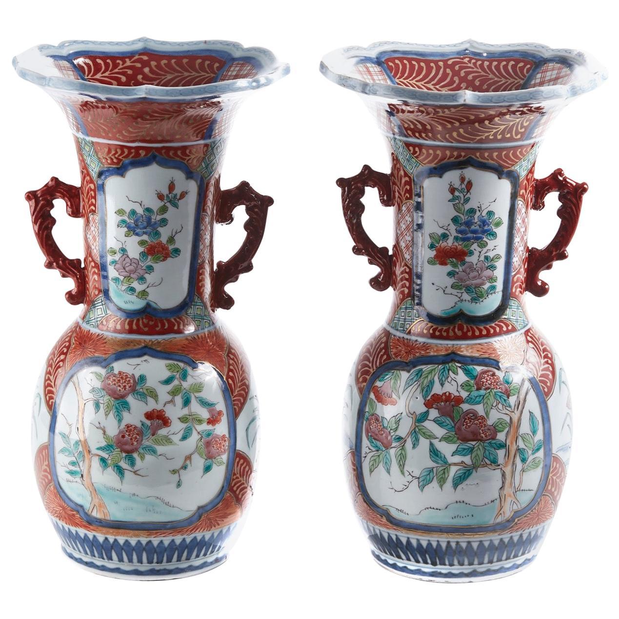 Pair of Antique Japanese Hand Painted Imari Vases