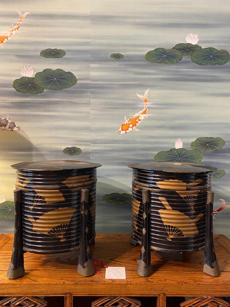 Pair of Antique Japanese Hokai Lacquer Boxes For Sale 9