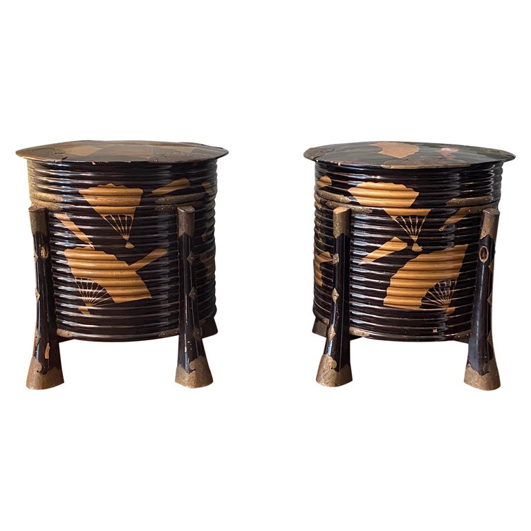 Pair of Antique Japanese Hokai Lacquer Boxes For Sale