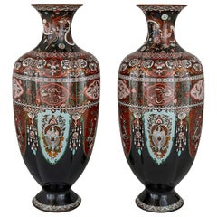Pair of Antique Japanese Meiji Period Goldstone and Enamel Vases
