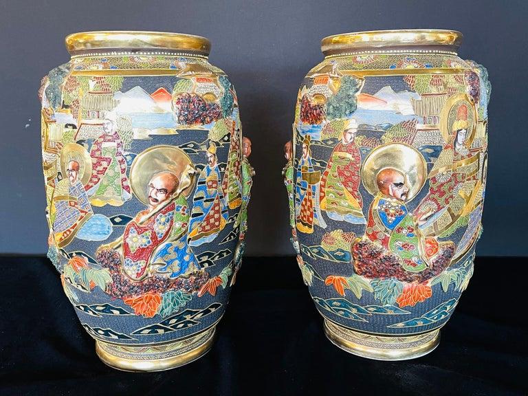 Japonisme Pair of Antique Japanese Satsuma Vases Figural Scenes For Sale