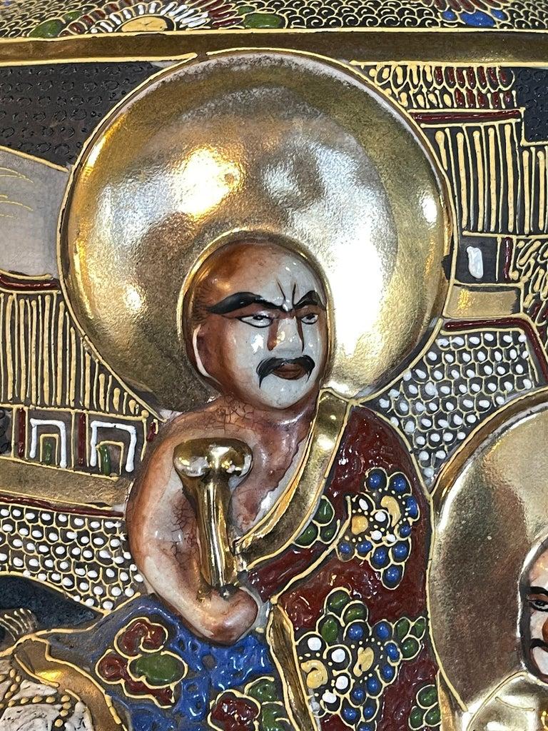 Pair of Antique Japanese Satsuma Vases Figural Scenes For Sale 1