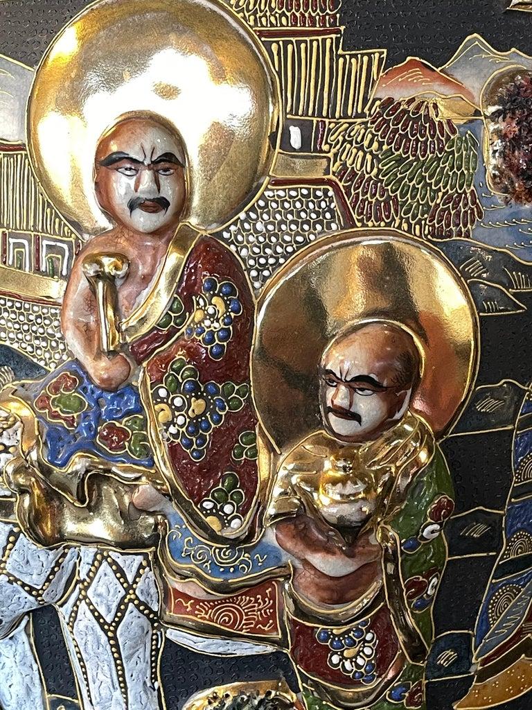 Pair of Antique Japanese Satsuma Vases Figural Scenes For Sale 2