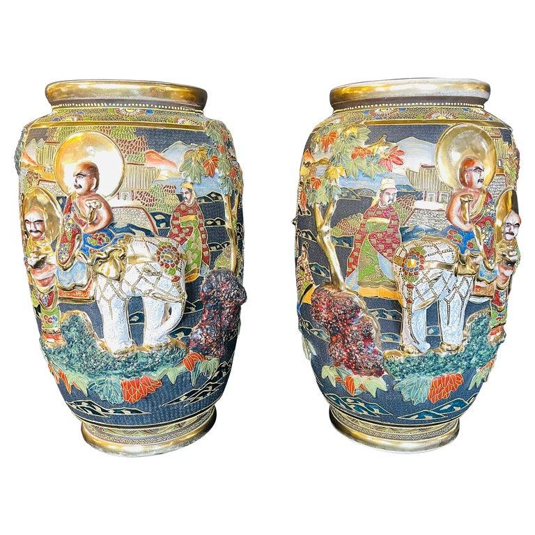 Pair of Antique Japanese Satsuma Vases Figural Scenes For Sale