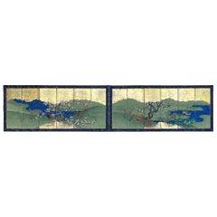 Pair of Antique Japanese Screens