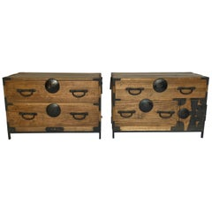 Pair of Antique Japanese Tansus with Custom Bases