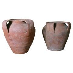 Pair of Antique Jars, Pots, Vase, 19th Century, Spain, Terracotta Spanish Jars