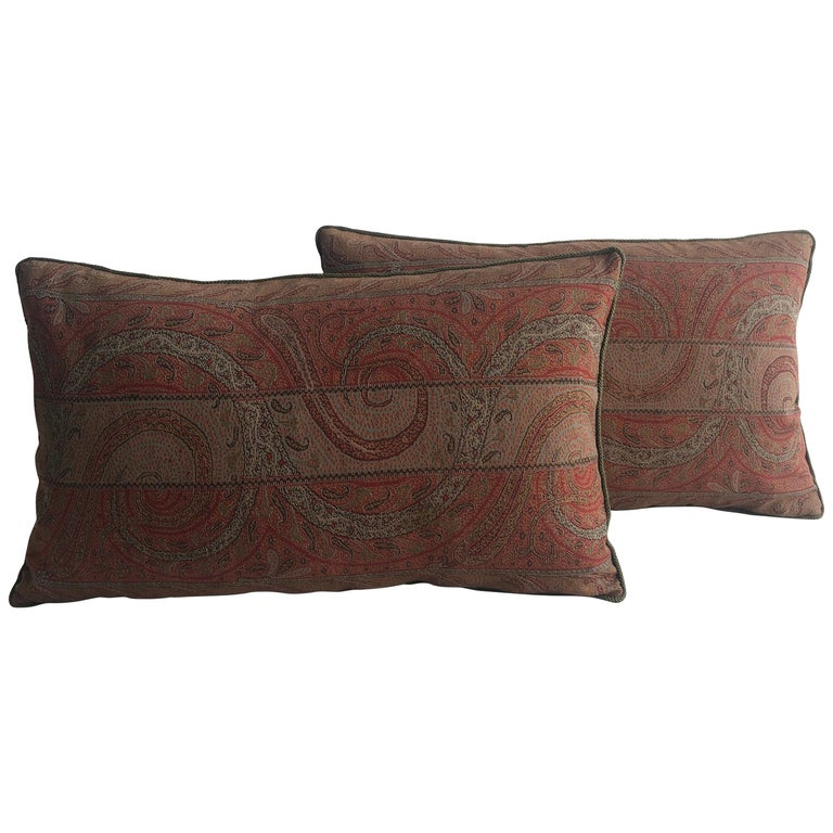 Pair of Antique Kashmir Paisley Lumbar Decorative Pillows with Green Rope Trim For Sale