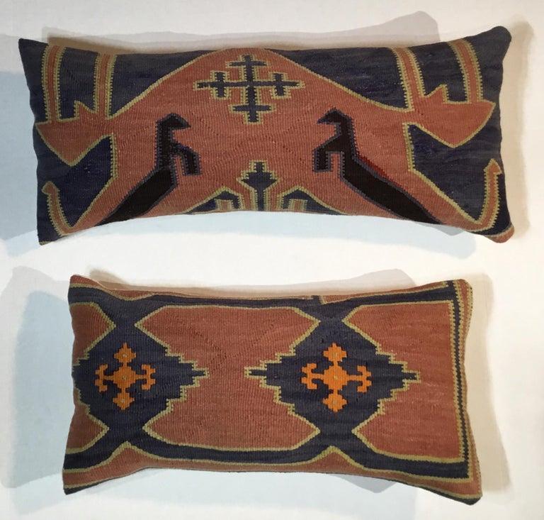 Pair of Antique Kazak Pillows For Sale 4