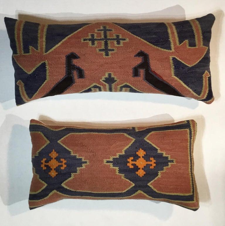 Pair of Antique Kazak Pillows For Sale 5