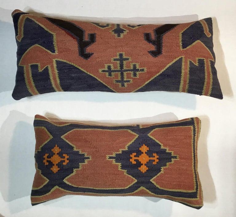 Pair of Antique Kazak Pillows For Sale 7