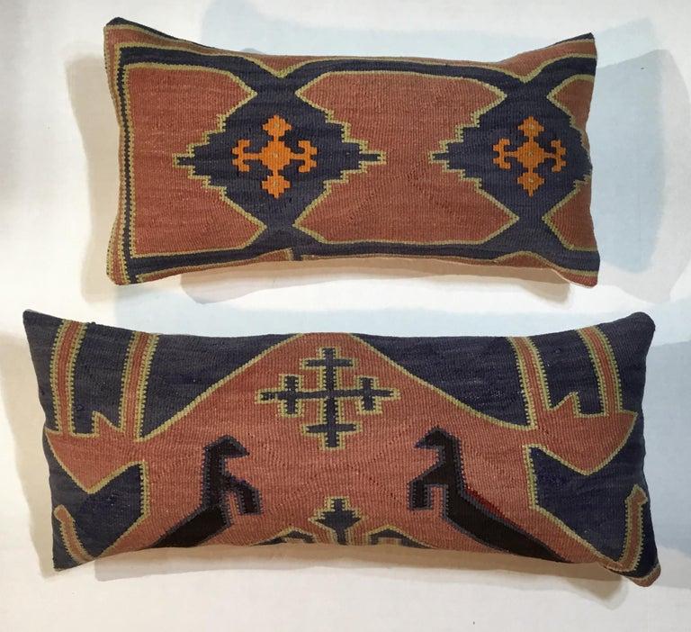 Pair of Antique Kazak Pillows For Sale 8