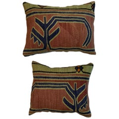Pair of Antique Kazak Rug Pillows