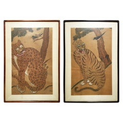 Pair of Antique Korean Framed Tiger Paintings