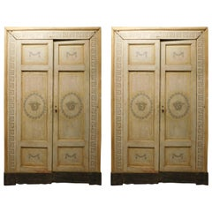 Pair of Antique Lacquered Double Doors with Frame, Medusa, 18th Century Italy