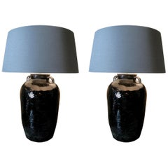 Pair of Antique Lamps, Pair of Glazed Vase Lamps Black Glazed Lamps
