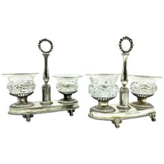 Pair of Antique Large French Neoclassical Silver, Crystal Salt Cellars 1819-1838
